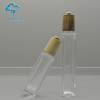30ml square silm Clear empty essential oil packaging cosmetic square glass dropper bottle with wood lids