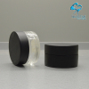 cosmetic cream screw cap jar with black wood cap black printing