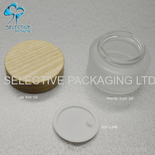 30g frosted glass jar and screw top ash wood lids