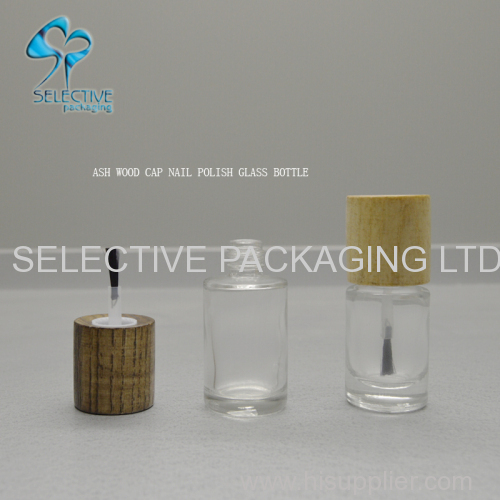 30ml empty printing small glass bottles nail polish bottles packaging with wood brush lids