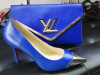 Blue Color Metallic Toe Women Shoes with Matching Purse