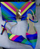 Rainbow Color Upper Lady Shoes with Matching Handbags