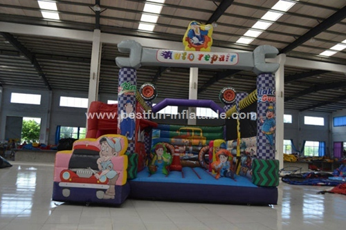 Fantastic design auto repair inflatable combo for kids