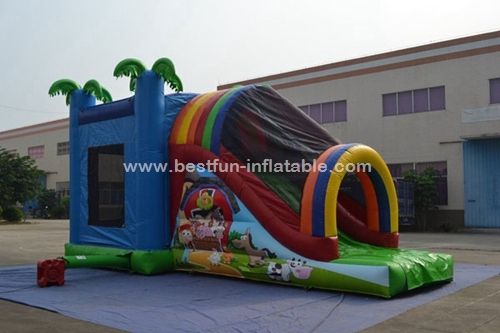 Inflatable farm combo with slide