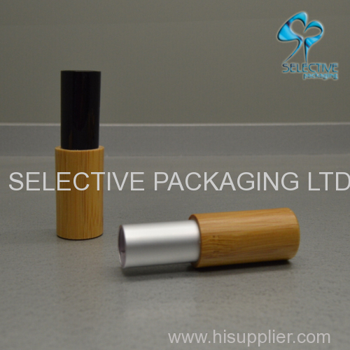 lip stick bamboo container black aluminum