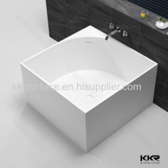 Pure white solid surface soaking freestanding square bathtub