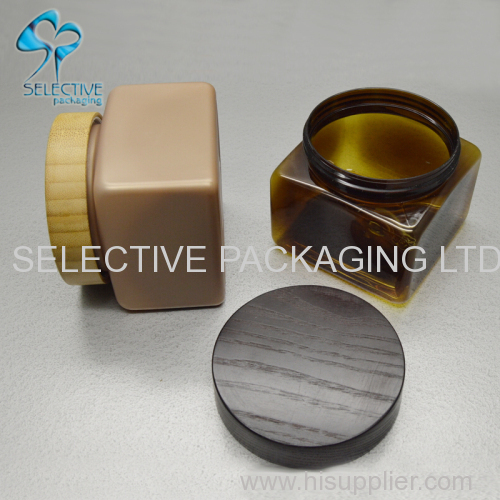 500ml square large capacity cosmetic PET plastic cream jars with wood screw lid