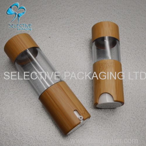 Bamboo packaging Airless Clear plastic Bottle Bamboo cap Cosmetic Empty Packaging bottles