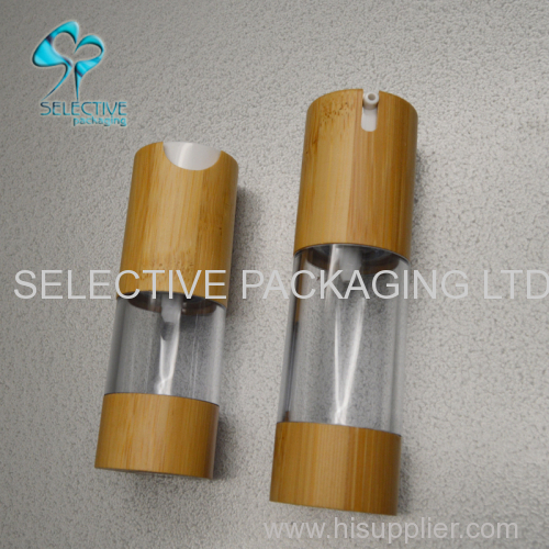 acrylic airless pump spray bottle bamboo