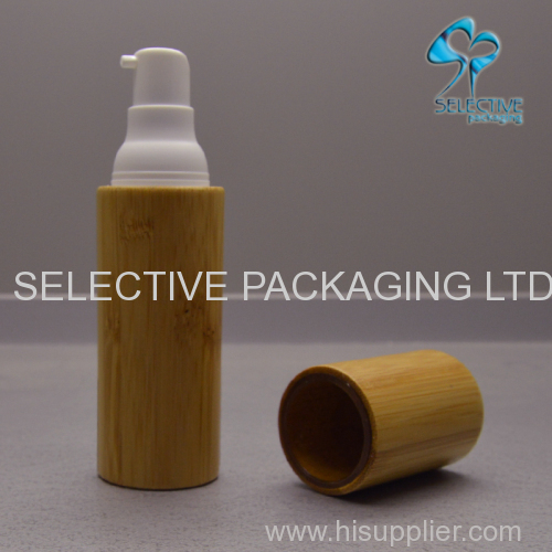 delicate 30ml silm airless pump bottle bamboo cosmetic lotion container
