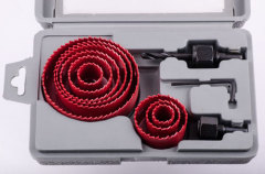 15pcs carbon steel hole saw set 19-22-25-29-32-35-38-44-51-57-64-76mm 2 arbors in blow case