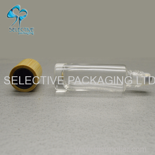 empty 10ml bamboo screw cap top roll on glass perfume bottle