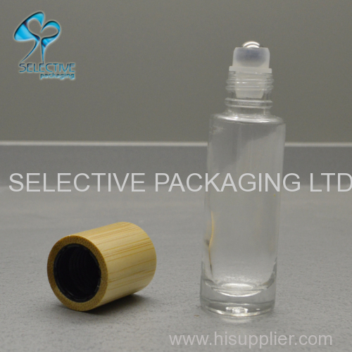empty 15ml bamboo screw cap top roll on glass perfume bottle