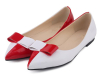 White and red bowtie flat dress shoes