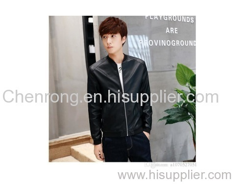Autumn and winter young Korean men's Leather Slim casual short jacket collar PU locomotive thin jacket tide