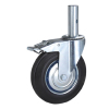 Rubber scaffold caster with solid stem