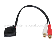 Aux-In Adapter To 2 Rca Jack For Seat Skoda Vw Mfd2 Rns Rns2