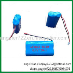 led lights battery 6.4v 1.5ah lifepo4 lithium battery pack 2S1P
