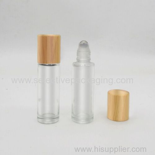 empty 10ml bamboo screw cap top roll on glass