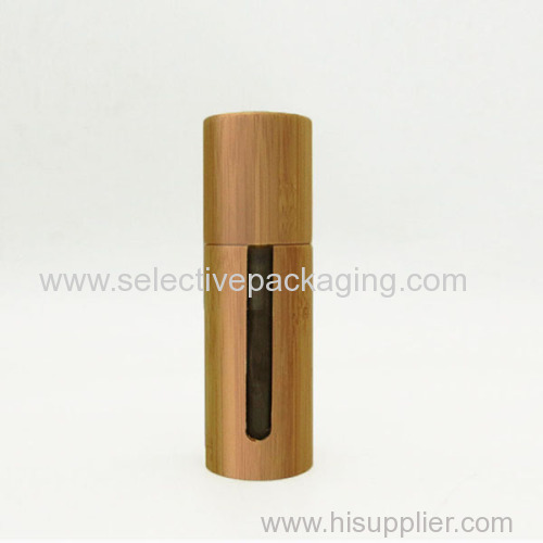 Glass bamboo lotion pump cosmetic bottle