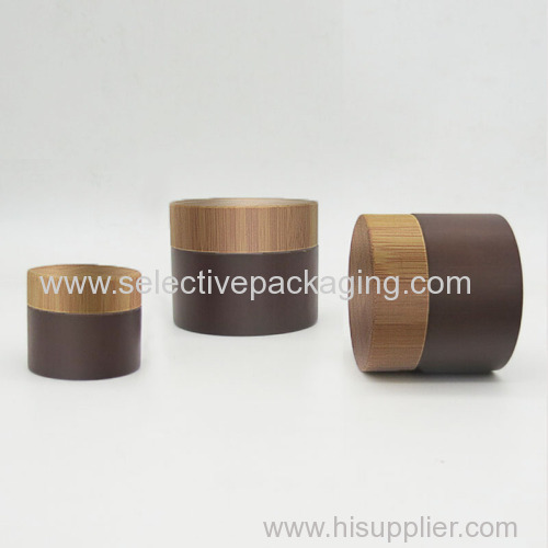 Brown coating bamboo plastic cosmetic cream container