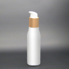 100ml opal glass boday lotion pump bottle with wooden lid