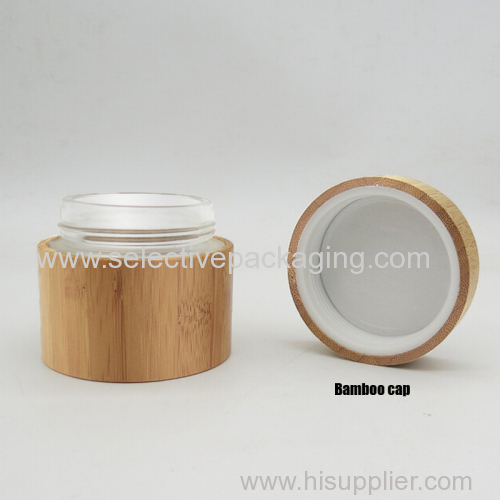 50g luxury bamboo glass face cream jar cosmetic container