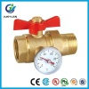 BRASS PIPE UNION BALL VALVE WITH TEMPERATURE GAUGE