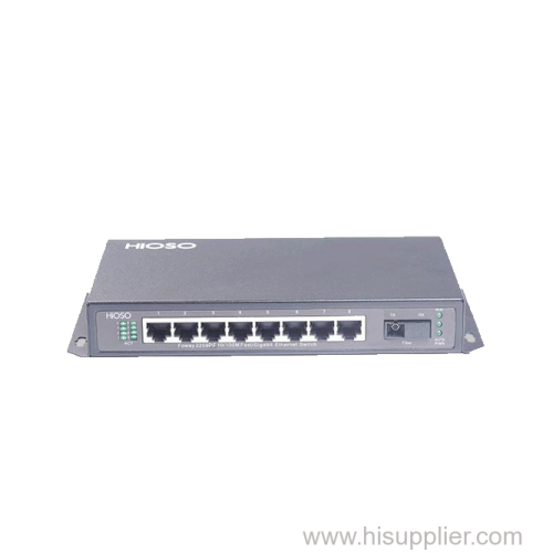8 ports POE Switch with 1 100M FX uplink power over ethernet