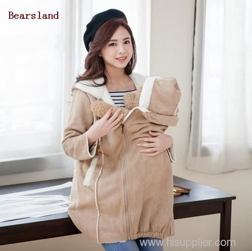 Fashion Cute Maternity Coat thicken Warming cotton Maternity clothes for holding babies pregnant Women Winter jackets 2