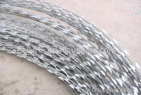 hot sell stainless steel single coils straight line Concertina hot dipped galvanized Razor Barbed Wire