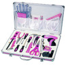 Promotion 26 Piece Home Pink Tool Kit With Ledlight Measuring Tape sockets Great Gifts For Ladies