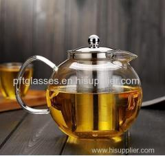 Wholesales hand blown single wall teapots with tea infuser