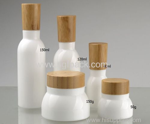 Opal glass lotion bottle and cream jar with wood lid