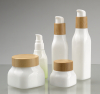 Smooth white opal glass square lotion bottle and cream jar with wood lid