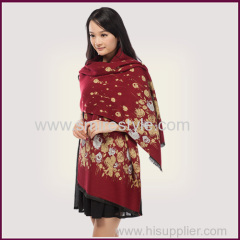 Fall and Winter Warm Colorful Viscose and Polyester Floral Shawl for Women