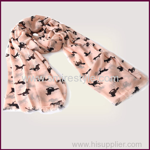 Large Size Elegent Pink 100% Modal Anmial Printed Scarf