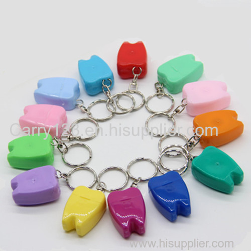 Mini Tooth shape dental floss with Keychain 15m mint waxed OPP bag packing can customized logo FDA CE approval