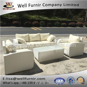 Well Furnir 5 Seater Sofa Set With Cushion In White