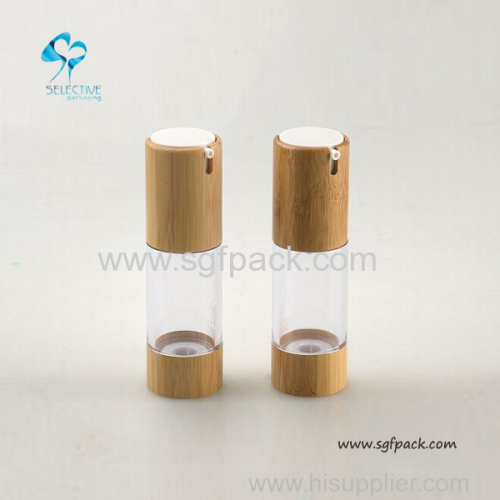 ABS plastic airless bottle with bamboo cover