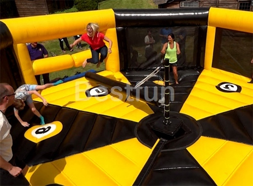 Participant meltdown Ultimate wipeout inflatable sweeper game