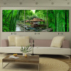 High Resolution Landscape Painting 3 Panel Bamboo House Living Room Wall Decorative Oil Painting on Canvas