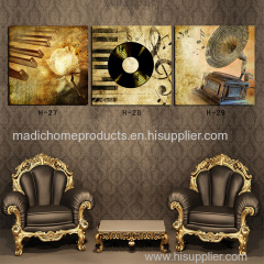 Abstract wall painting designs 3 panel printed oil painting piano gramophone still life canvas wall picture