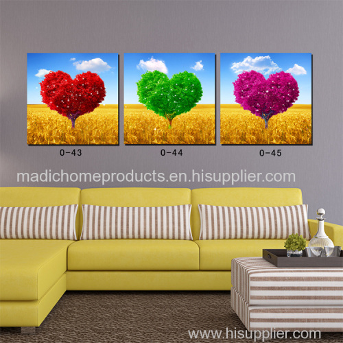 Landscape painting canvas 3 Panel canvas Prints Love Heart Tree Romantic Scenery Oil Paintings on canvas best gift