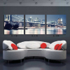 Landscape decorative painting 3 panel Brooklyn Bridge New York City night scene printed canvas oil painting for hotel