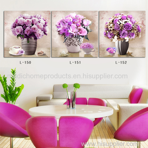 Canvas oil paintings modern art 3 panel purple rose flower in vase still life canvas prints for room decoration