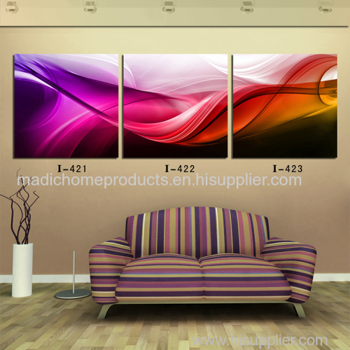 Simple abstract paintings 3 piece floating silk printed oil painting on canvas for hotel wall decoration