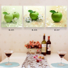 Modern painting on canvas 3 piece printed oil painting wholesale green apple kitchen restaurant decoration wall art