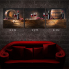 Canvas modern oil painting 3 panel wine bottle and glass still life bar decoration wall paintings printed