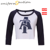 Custom fashion super soft combed cotton raglan style 3/4 sle-eves short-waisted baseball t shirt